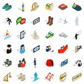 Current Icons Set. Isometric Set Of 36 Current Icons For Web Isolated On White Background poster