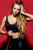 Sexy Sportwoman After Workout. Boxing Gloves. Fitness. Healthy Lifestyle. Boxing Girl. Sport. Lose W poster