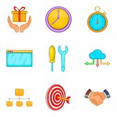 Capital Investment Icons Set. Cartoon Set Of 9 Capital Investment Icons For Web Isolated On White Ba poster