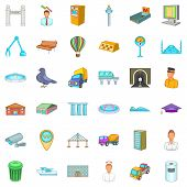 Inhabitant Of Capital Icons Set. Cartoon Set Of 36 Inhabitant Of Capital Icons For Web Isolated On W poster