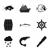 Marine Environment Icons Set. Simple Set Of 9 Marine Environment Icons For Web Isolated On White Bac poster