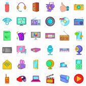Multimedia Mean Icons Set. Cartoon Set Of 36 Multimedia Mean Icons For Web Isolated On White Backgro poster