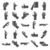 Hand Gesture Silhouette. Pointing Hand Gesture, Giving Handful And Hold In Hand Vector Icon Illustra poster