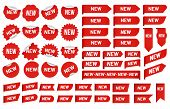 New Label Sticker. Newest Angle Tag, Sales Banner Badge Stickers And New Tags Vector Set poster