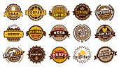 Beer Label Badges. Retro Beers Brewery, Lager Bottle Badge And Vintage Beer Emblem Isolated Vector I poster
