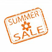 Summer Sale Rubber Stamp Design. Shopping Seasonal Discount. Vector Stamp Seasonal Sale, Promotion O poster