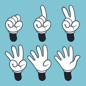 Hand Numbers. Cartoon Hands People In Glove, Sign Language Palm Two Three One Four Finger Count, Vec poster