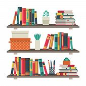 Flat Bookshelves. Shelf Book In Room Library, Reading Book Office Shelf Wall Interior Study School B poster