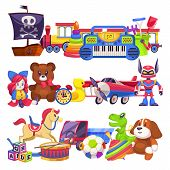 Toy Piles. Cute Colourful Kid Toys Pile With Car, Sand Pail, Child Plastic Animal Bear And Dog, Doll poster