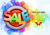 Vector 3d summer sale design template. All elements are layered separately. Easy editable eps10 file