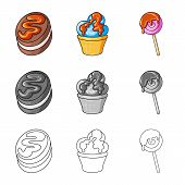 Isolated Object Of Confectionery And Culinary Icon. Collection Of Confectionery And Product Stock Sy poster