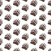 Vector Bear Paw Footstep Silhouette Pattern For Background, Icon, Poster, Banner. Wild Animal Paw Pr poster