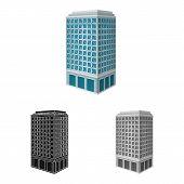 Vector Design Of Skyscraper And House Icon. Collection Of Skyscraper And Hotel Vector Icon For Stock poster