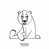 Cartoon Character Of A Forest Animal. Funny Cool Wild Bear Sits Relaxed In A Pose On A White Backgro poster