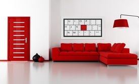 stock photo of ami  - bright livingroom with angle sofa and door  - JPG