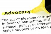 foto of courtroom  - Definition of Advocacy highlighted with yellow felt tip pen - JPG
