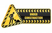 foto of safety barrier  - Under construction icon and warning sign in glossy style - JPG