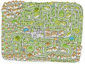 Постер, плакат: Городской пейзаж лабиринт игра