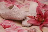 foto of pink shoes  - oyster pink beaded ladies shoes - JPG