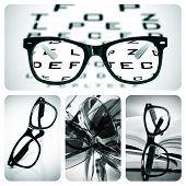 stock photo of snellen chart  - collage of some different pictures about optometry and eyeglasses - JPG