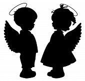 picture of divine  - Two black angel silhouettes isolated on white - JPG