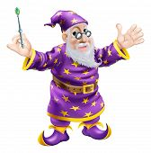 stock photo of merlin  - A cartoon cute friendly old wizard character holding a wand - JPG