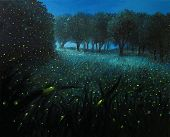 stock photo of ember  - An oil painting on canvas of a Night Scene with fireflies and forest meadow shining in bright blue by the moon light - JPG