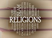 foto of taoism  - Religions word cloud with a books background - JPG