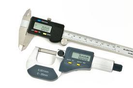 stock photo of micrometer  - digital micrometer and digital caliper set on a white background - JPG