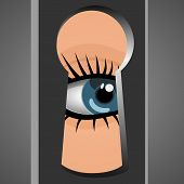picture of peep hole  - Woman looks through a keyhole - JPG