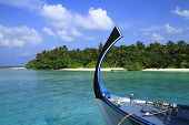 stock photo of dhoni  - Bow of a traditional Dhoni Maldives Indian Ocean - JPG