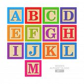 stock photo of alphabet  - Wooden alphabet blocks - JPG