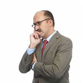 picture of soliciting  - The businessman in spectacles on a white background - JPG