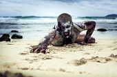 picture of walking dead  - young man with a zombie body painting - JPG