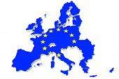 pic of political map  - Map of European union and EU flag on a white background - JPG