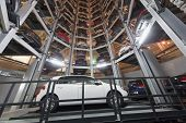 MOSCOW - JAN 11: Bottom view of the Volkswagen Golf on parking lot with a multi-story automated car