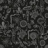 pic of protozoa  - Seamless sea plankton pattern in cartoon style - JPG