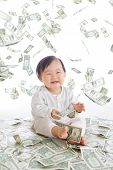 Baby Excited Smile With Money Rain