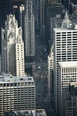 foto of mile  - The Magnificent Mile From Above. Chicago Michigan Avenue from Birds Eye View. Chicago Illinois USA.