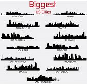 stock photo of city silhouette  - Set of Biggest American cities vector skylines - JPG
