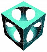 pic of subtraction  - Geometric Subtraction Of Cube And Sphere Vector - JPG