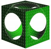 picture of subtraction  - Geometric Subtraction Of Cube And Sphere Vector - JPG