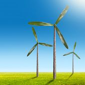 stock photo of wind wheel  - Green energy concept  - JPG