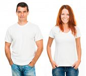 stock photo of casual wear  - young man and girl in white T - JPG