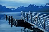 picture of dock a lake  - Montana Lake McDonald and Floating Dock - JPG