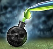 image of chemical weapon  - Chemical weapons concept with a bomb as a human death skull being filled using an eye droper with dangerous poison as nerve or mustard gas as a symbol of a weapon of mass destruction as a war crime with smoke shaped as evil skulls - JPG
