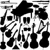 stock photo of music instrument  - 22 pieces of detailed vectorial musical instrument silhouettes - JPG