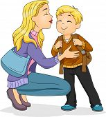 stock photo of goodbye  - Illustration of a Caucasian Mother Planting a Kiss on Her Son - JPG