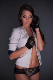 image of knickers  - Beautiful Lady With White Jacket And Knicker Lingerie - JPG