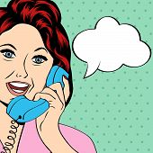 stock photo of homemaker  - Pop Art lady chatting on the phone vector illustration - JPG